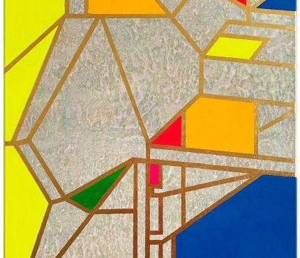 Colour-Blocking1, Acryl u. Gold a. Lwd 70x100 cm