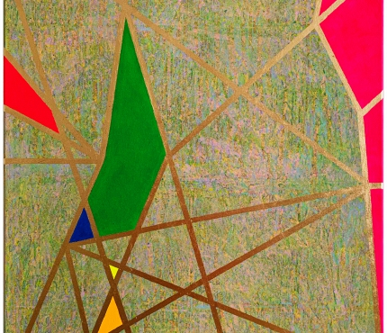Colour-Blocking2, Acryl u. Gold a. Lwd 70x100 cm