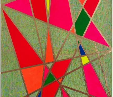 Colour-Blocking3, Acryl u. Gold a. Lwd 70x100 cm