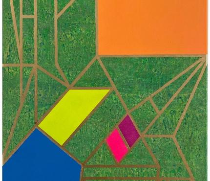 Colour-Blocking4, Acryl u. Gold a. Lwd 70x100 cm