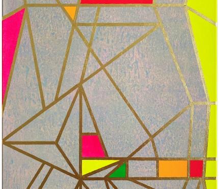 Colour-Blocking5, Acryl u. Gold a. Lwd 70x100 cm