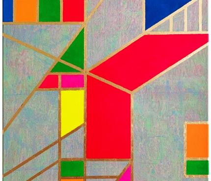 Colour-Blocking6, Acryl u. Gold a. Lwd 70x100 cm
