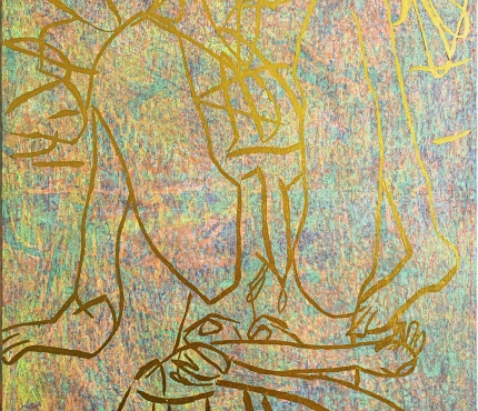 Hommage à Baselitz, Acryl u. Gold a. Lwd, 70x100 cm