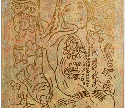 Hommage à Matisse, Acryl u. Gold a. Lwd, 70x100 cm