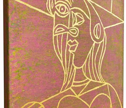 Hommage à Picasso,  Acryl u. Gold a. Lwd, 50x70 cm