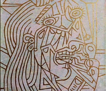 Hommage à Picasso2, Acryl u. Gold a. Lwd, 50x70 cm
