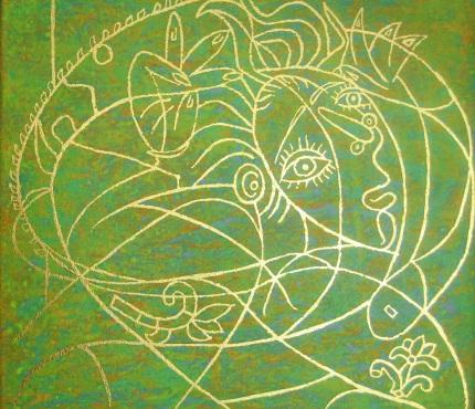 Hommage à Picasso3,  Acryl u. Gold a. Lwd, 50x50 cm