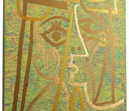 Hommage à Picasso4,  Acryl u. Gold a. Lwd, 50x70 cm