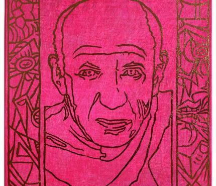 Picasso2, Acryl u. Gold a. Lwd XL, 40x40 cm