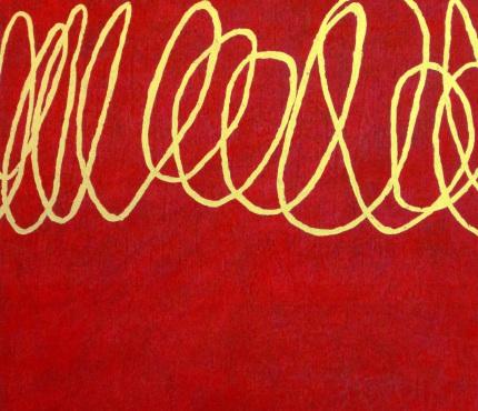 Schriftzug, Acryl u. Gold a. Lwd, 70x80 cm