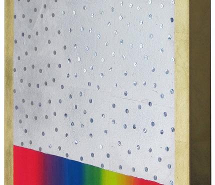 Licht2, Acryl, Gold u.a. a. Lwd XL, 50x70 cm