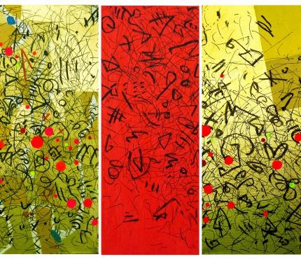Triptychon,  Acryl, Gold, Marker a. Lwd, 50x120 cm