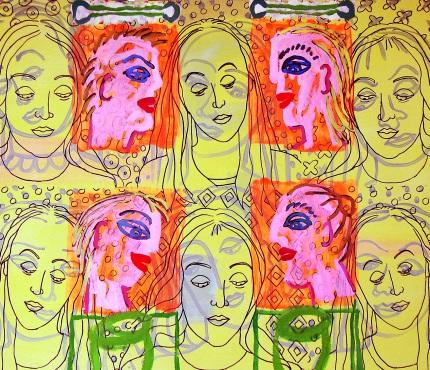 5.Madonnen, Acryl und Marker a. Karton, 100 x 70 cm