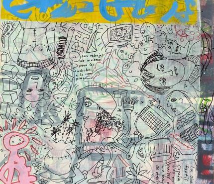 12.Mit Zeichen auf Gelb, Acryl und Marker a. Karton, 70 x 100