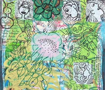 14. Rosen, Acryl und Marker a. Karton, 70 x 100 cm