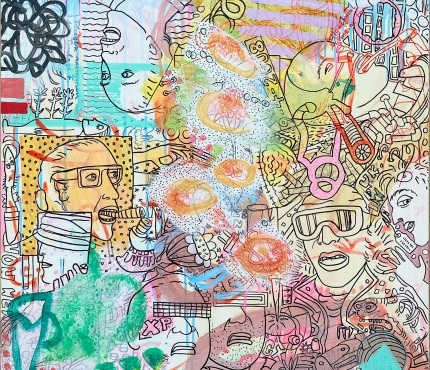 18. Schwierige Zeiten, Acryl u. Marker a. Lwd, 70x100 cm