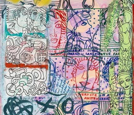 16. Vom Jenseits, Acryl und Marker a. Karton, 70 x 100 cm