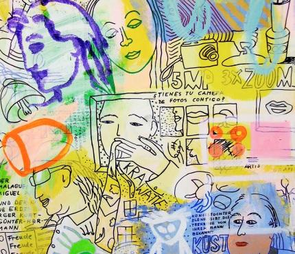 6.Mit Krawatte, Acryl und Marker a. Karton, 70 x 100 cm