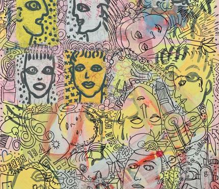 13.Mit Kind, Acryl und Marker a. Karton, 70 x 100 cm