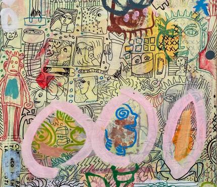9.Mit rosa Ringen, Acryl und Marker a. Karton, 70 x 100 cm