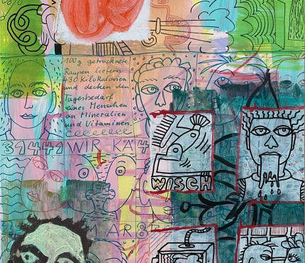 11.Mit gelbem Kopf, Acryl und Marker a. Karton, 70 x 100 cm