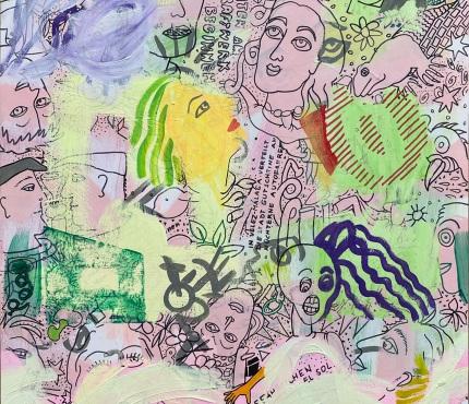 10.   Mit hellen Kreisen, Acryl und Marker a. Karton, 70 x 100 cm