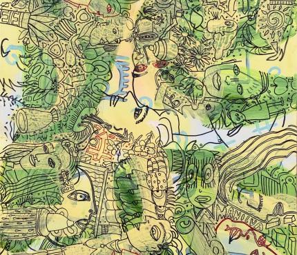 17.   Viel los, Acryl und Marker a. Karton, 70 x 100 cm